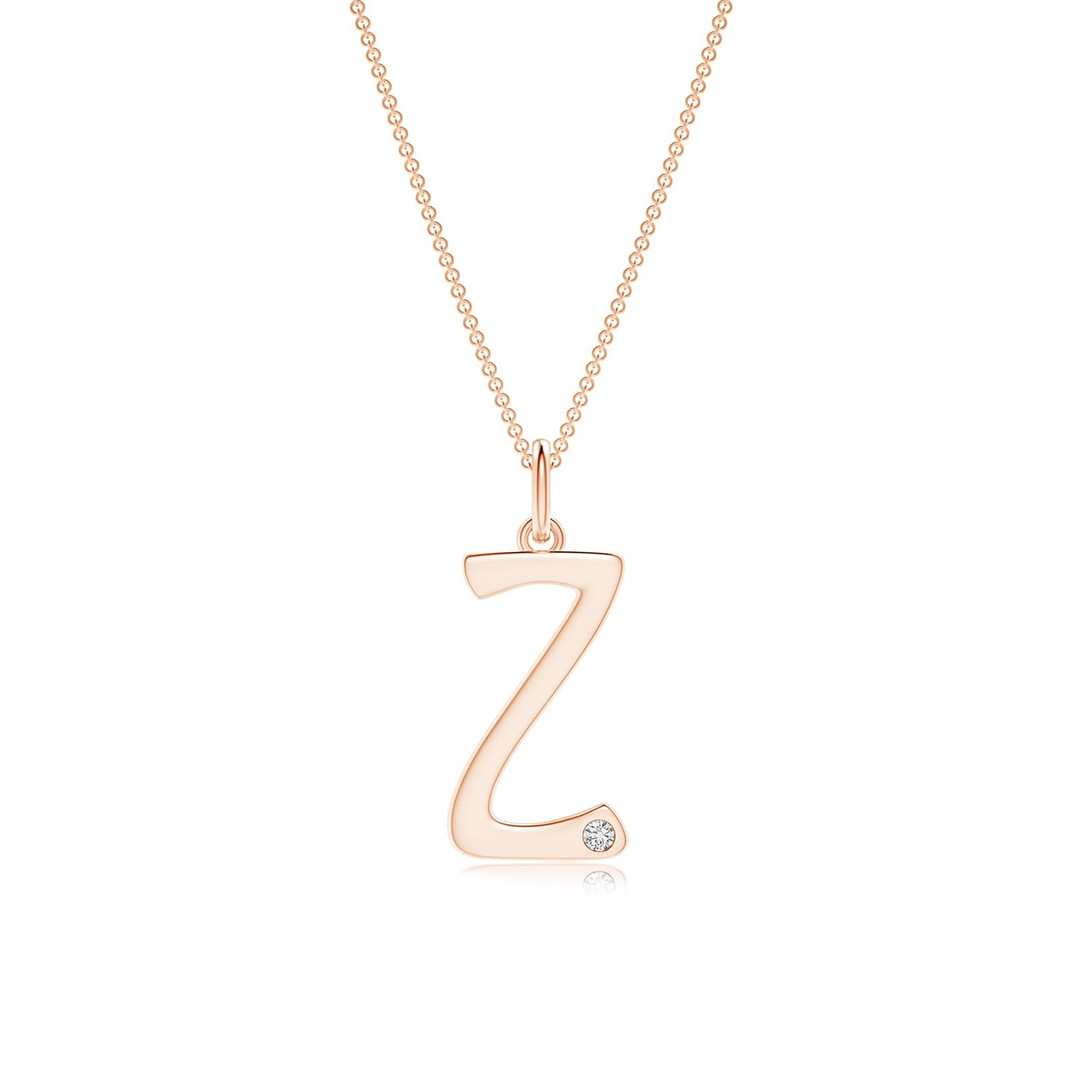 Color H, Clarity: SI2 Gypsy Set Diamond Capital Z Initial Pendant