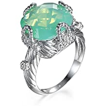 Green Fire Opal Emerald Women Jewelry Gemstone Silver Ring Size7