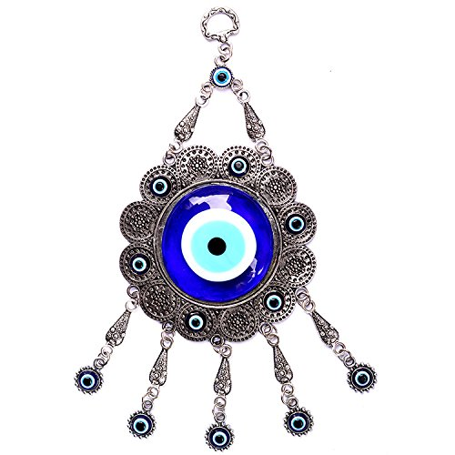 Luxury quality hand protects the blue evil eye of hanging ornament (浅蓝色)