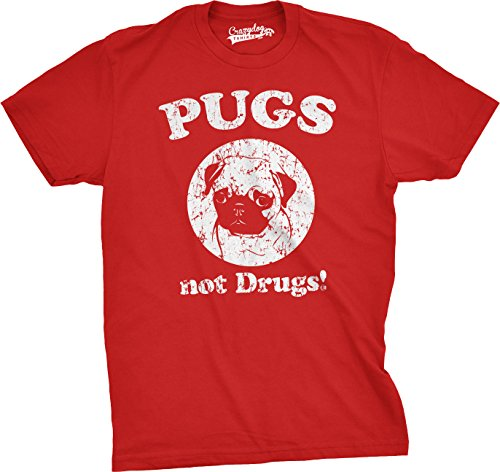 Mens Pugs Not Drugs T Shirt Pug Face Funny T Shirts Dogs Humor Novelty Tees (Red) - S