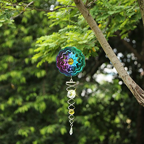 Ymeibe Sun Hanging Spinner Garden Galvanized Wind Spinner Outdoor with Helix Spiral Tail and Glass Ball 3-D Stainless Steel Kinetic Twisting Decor for Patio, Deck or Yard by Ymeibe (Image #3)