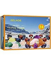 Likense Adventskalender 2021, 24 rasters oranje kristal reparatiesteen kit, helende kristallen adventskalender, adventskalender 2021 kerst