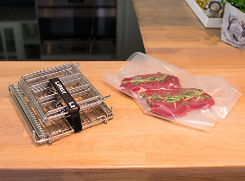 LIPAVI Sous Vide Rack-Model L10- Marine Quality 316L Stainless Steel-Square 7.8 x 6.4 Inch-Adjustable, Collapsible,Ensures even and Quick warming with Sous Vide Cooking - Fits LIPAVI C10 Container by LIPAVI (Image #3)