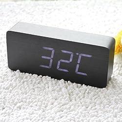 OUYAWEI EiioX Wood Grain Clock LED Desk Alarm Clock Time Temperature Date - Sound Control - Latest Generation(Black Skin White LED Light)