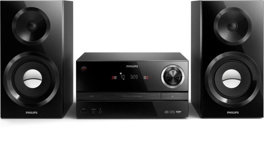 Philips MCM3350/12 Home Audio Mini System 130W Negro Sistema de Audio para el hogar - Microcadena (Home Audio Mini System, Negro, 130 W, De 2 vías, 10,2 cm, FM)
