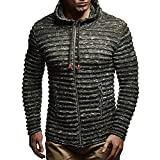 minRan Big Promotion Mens Autumn Winter Solid Knit Stripe Coat Hooded Jacket Long Sleeve Drawsting Outwear