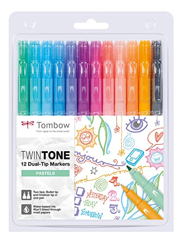 Tombow WS-PK-12P-2 Twin Tone Dual-Tip Marker - Pastel Colours (Pack of 12)