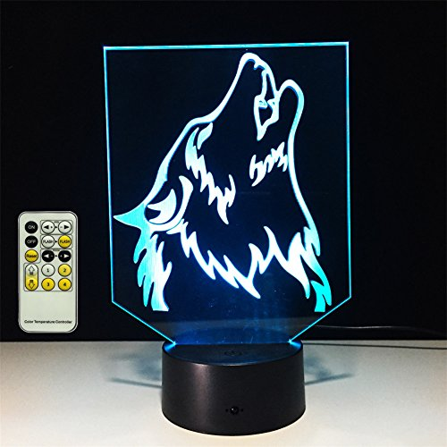 TRADE Acrylic Panel Carvings Three Dimensional Visual Wolf Head Multicolor USB Touch Remote Control Gifts Home Indoor Decorative Lamp for USB Connected or 3-AA Batteries Powered by TRADE®