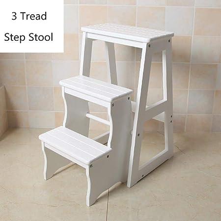 XITER Escalera de Tijera Plegable Taburete de Madera de 3 Pasos para Adultos Niños Cocina Escaleras de Madera Taburetes pequeños para pies Banco de Zapatos portátil para Interiores Taburete Escalera: Amazon.es: Hogar