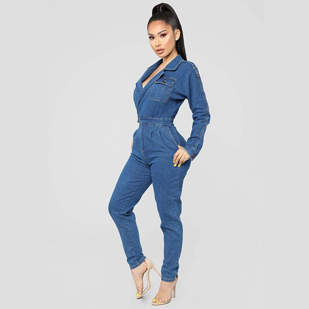 Cresay Womens Long Sleeves High Waist Demin Bodycon Jumpsuits Overall Jean Pants