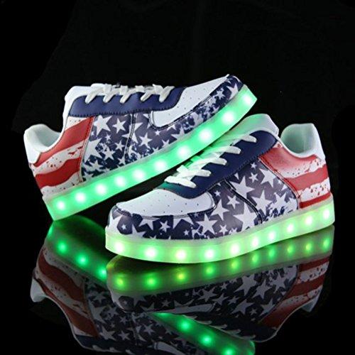 [Presente:pequeña toalla]JUNGLEST® Unisex 7 Colors USB Carga LED Luz Luminosas Flashing Sneakers Altotop Zapatos Zapatillas de Depo c37