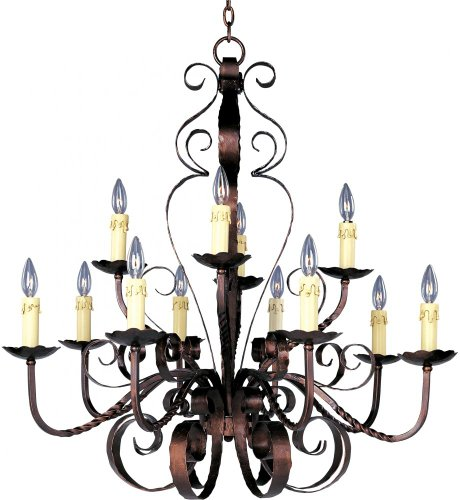 Maxim 20620OI Aspen 12-Light Chandelier, Oil Rubbed Bronze Finish, Glass, CA Incandescent Incandescent Bulb , 60W Max., Wet Safety Rating, Standard Dimmable, Glass Shade Material, 672 Rated Lumens - Aspen 12 Light Chandelier