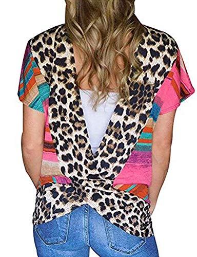 Donnalla Women's Sexy Open Back Blouse Stripe Leopard Printed Short Sleeve T Shirt Casual Summer Tee Top (Red, Medium)