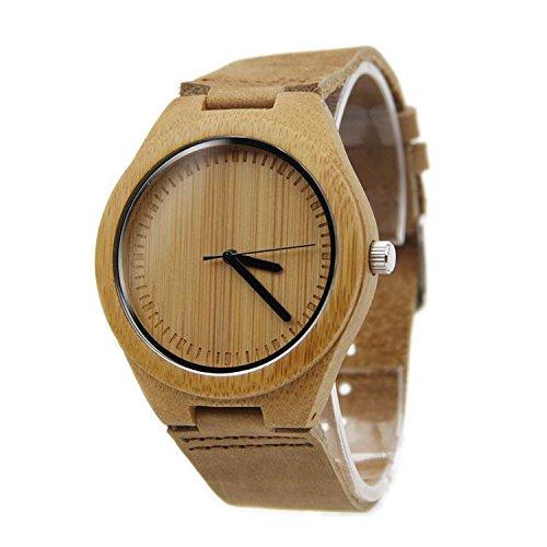 Biao&MZ Nuevo reloj Unisex / natural madera / bambú / madera reloj de mesa / correa de cuero / regalo / usable / accesorios , brown