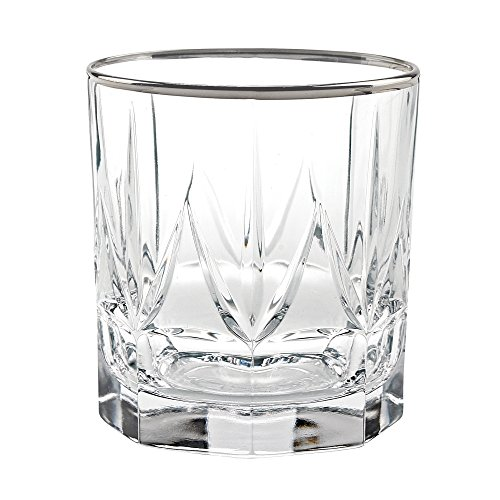 Lorren Home Trends 262340-SL Chic Set of 6 Double Old Fashion Tumblers with Platinum Trim, One Size Clear