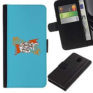 """A-type (Resumen Azul"""") Colorida Impresión Funda Cuero Monedero Caja Bolsa Cubierta Caja Piel Card Slots Para Samsung Galaxy Note 3 III"""