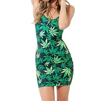 Marijuana Weed Leaf Print Bodycon Tube Dress (S)
