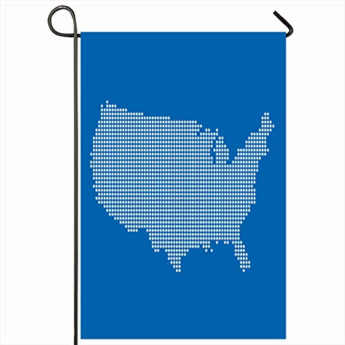 Ahawoso Garden Flag 12x18 Inches Dot State Map USA United Digital Michigan America American Design West Outdoor Seasonal Home House Yard Sign Double Sides Printed Banner