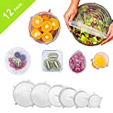 TINANA Silicone Stretch Lids (12 Pack,Various Size), Reusable Silicone Bowl Lids for Bowls, Pots, Cups. Durable and Expandable Seal Food Covers set Apply to All Kinds of Food Storage Container