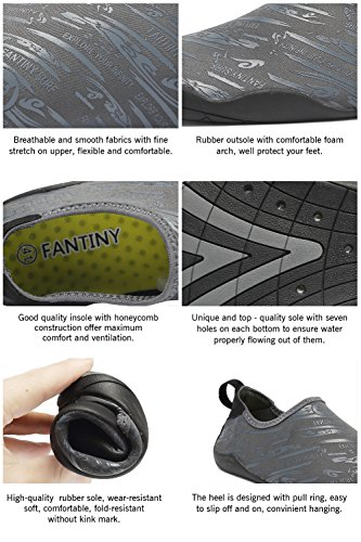 FANTINY Men and Women's Barefoot Quick-Dry Water Sports Aqua Shoes with 14 Drainage Holes for Swim, Walking, Yoga, Lake, Beach, Garden, Park, Driving, Boating,SVD,Grey,46 4