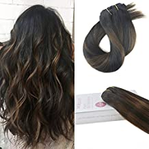 Moresoo 20 Inch Remy Human Hair Extensions Clip in 120 Grams 7 Pieces Per Pack Off Black #1B to Dark Brown #4 and Off Black #1B Natural Remy Hair Full Head Set Remy Hair Extensions