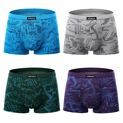 (wirarpa Men's Underwear 4 Pack Stretch Modal Microfiber Trunks Soft Waistband Short Leg, Small 1401-4p-print Design)