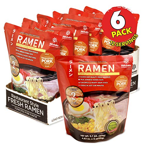 Hakubaku Fresh Ramen Tonkotsu Pork Flavor, 9.7 ounce (6 pack)