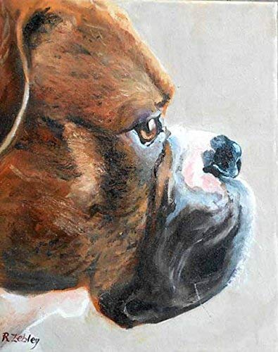 Boxer Dog Art Print from Original Oil Painting, Artist Signed, 8 x10 inch