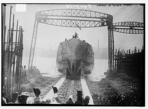 1912 Photo Launch of QUEEN MARY the March 1912 launch of HMS Queen Mary at Palmer's Shipbuilding, Jarrow-on-Tyne, England. She was sunk during battle in 1916. (Source: Flickr Commons project, (Queen Mary Ship Pictures)