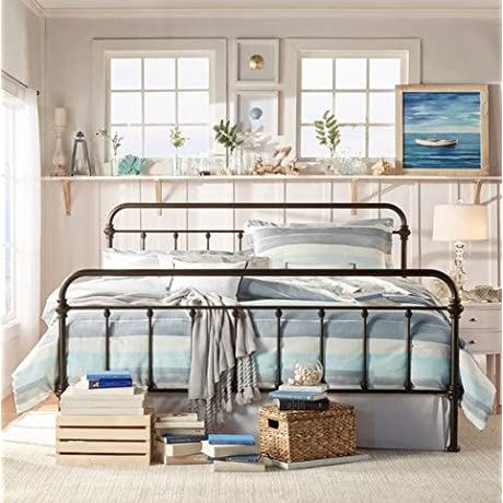 INSPIRE Q Giselle Antique Dark Bronze Graceful Lines Victorian Iron Metal King Sized Bed Frame