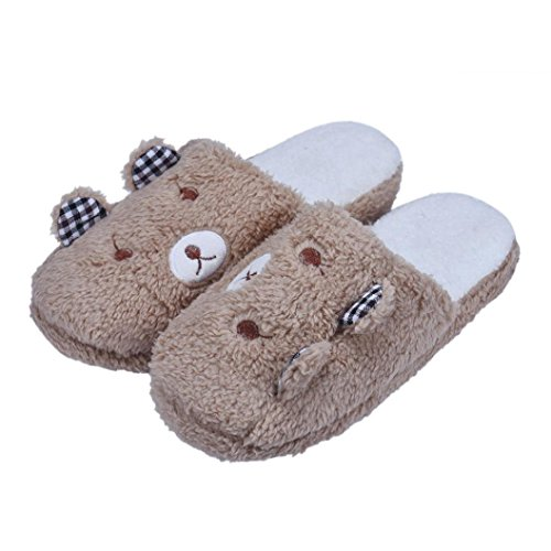 Sunfei ®Lovely Bear Home Floor Soft Cotton-padded Slippers Shoes 36-40 Coffee dlAm1gTc