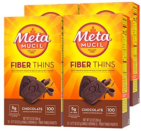 Metamucil Fiber Thins, Psyllium Husk Fiber Supplement, Digestive Health Support and Satisfy Hunger, Chocolate Flavored, 12 Servings (Pack of four)