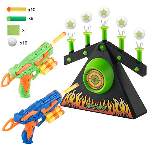 DoitY Electric Targets for Shooting, Hover Shooting Target Compatible with Nerf Toys, including 2 Blaster Guns for Beginners (Hovering Target Shooting Game)