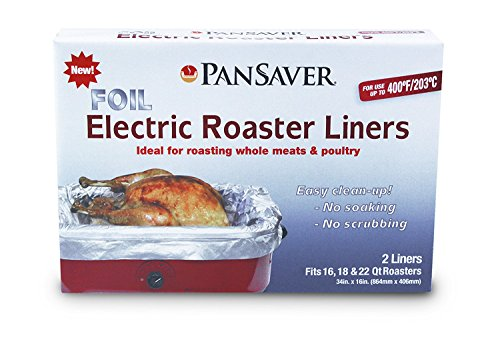 (PanSaver 45950 Foil Electric Roaster Liner Pack of 4 - Fits 16-22 Qt Roasters - up to 400 Degrees)