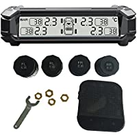 SHENEN TPMS Tire Pressure Monitoring System, Wireless Solar Real-time Monitoring Tire Temperature/Pressure Detection System with 4 External Sensors