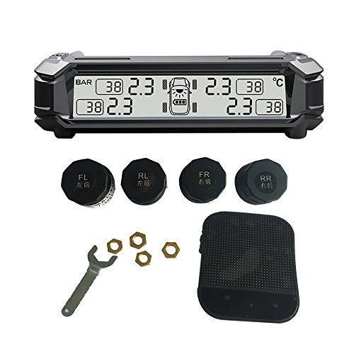 SHENEN TPMS Tire Pressure Monitoring System, Wireless Solar Real-time Monitoring Tire Temperature/Pressure Detection System with 4 External Sensors by SHENEN