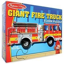 Amazon Com Giant Fire Truck Floor Puzzle 24 Pieces
