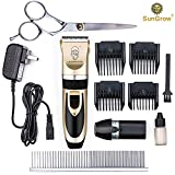 SunGrow All Inclusive Pet Grooming Kit - Quiet and Comfortable Fur Clipping Set from Contains 4 Comb Attachments, Cleaning Brush and Lubricating Oil - Trims fur on Dogs, Cats & other Family Pets