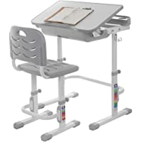 OKBOP Kids Desk and Chair Set, Students Study Desk for School Home, Height Adjustable Children Study Table with Tiltable Tabletop and Pull-Out Drawer for Boys & Girls