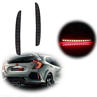 TurningMax Full LED Smoked Lens Bumper Reflector Lights Brake Tail Lamps for 2020-up Honda Civic Hatchback, Type-R or SI 4-Door Sedan: Automotive