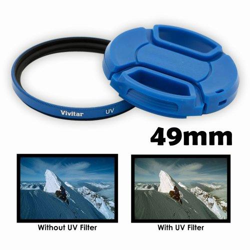 49mm Filter Cap - Vivitar 49mm UV Filter and Snap On Lens Cap - Blue