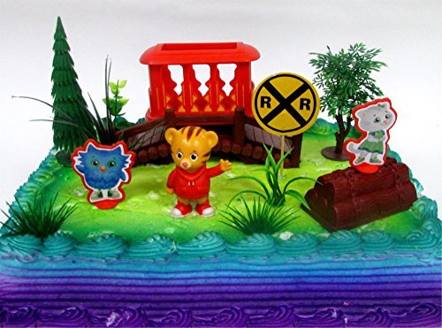 DANIEL TIGER'S NEIGHBORHOOD 10 Piece Birthday CAKE Topper Set, Featuring Daniel Tiger, Katerina Kitty Cat and O the Owl, Decorative Themed Accessories]()