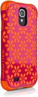 Ballistic Aspira Flowers Pattern Case for Samsung Galaxy S4 - Retail Packaging - Flowers Hot Pink/Tangerine