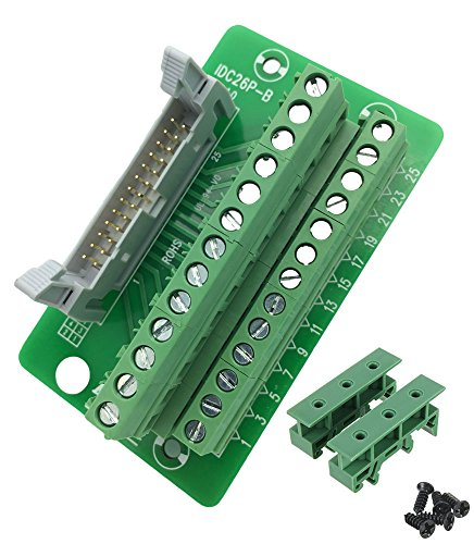 Sysly IDC26 2x13 Pins Male Header Breakout Board Terminal Block Connector with Simple DIN Rail Mounting feet