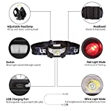 LE LED Headlamp Flashlight Rechargeable Headlights, USB Cable Included, Red Lights, 5 Modes, 2.85oz, Hands Free Running, Jogging, Hiking