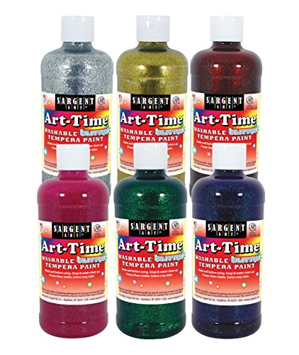 Sargent Art 17-3706 - 16 Oz Art-Time Washable Glitter Tempera Paint Assortment, 6 Color Set Including Gold & Silver (Assortment Paint Tempera)