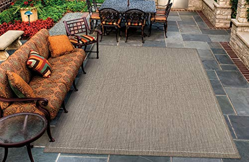Couristan Recife Saddle Stitch Indoor/Outdoor Area Rug Champagne/Taupe, 7'6
