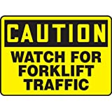 """Accuform Signs MVHR631VP Plastic Safety Sign, Legend """"CAUTION WATCH FOR FORKLIFT TRAFFIC"""", 7"""" Length x 10"""" Width x 0.055"""" Thickness, Black on Yellow"""