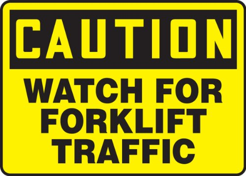 "Accuform Signs MVHR631VP Plastic Safety Sign, Legend CAUTION WATCH FOR FORKLIFT TRAFFIC, 7"" Length x 10"" Width x 0.055"" Thickness, Black on Yellow"