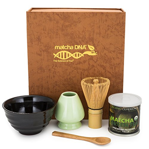 Matcha Tea Gift Box Set - Matcha Tea Ceremony Gift Set by Matcha DNA (Brown) - Comes with 1 oz Organic Matcha Green Tea, a Bamboo Whisk, Ceramic Whisk Holder, Matcha Bowl, and bamboo Spoon.